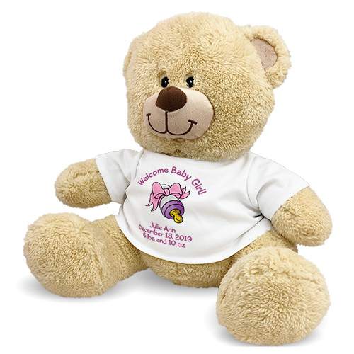 Welcome Baby Girl Teddy Bear 83000B21-4772