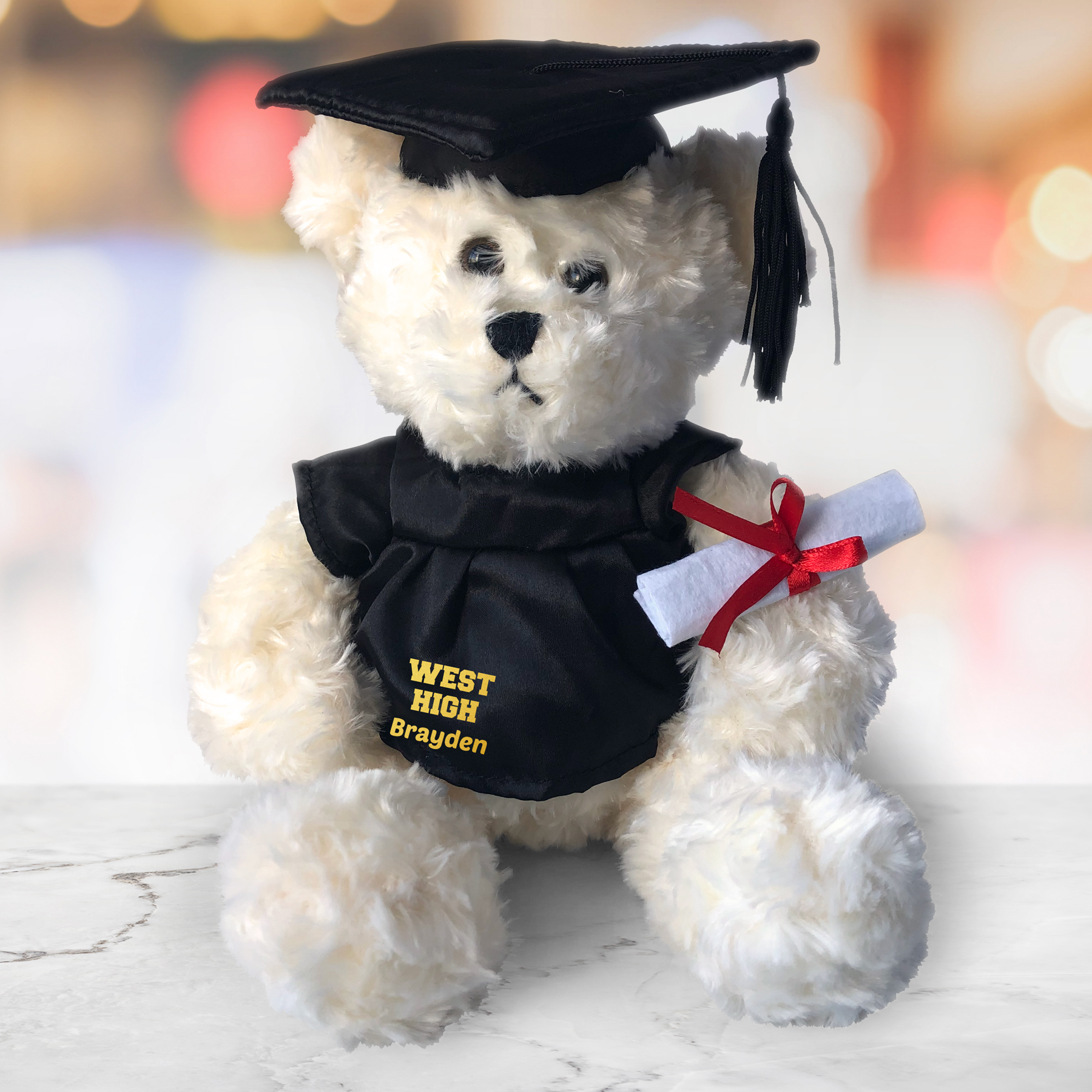 Personalized Any Message Graduation Cream Plush Bear - 8.5