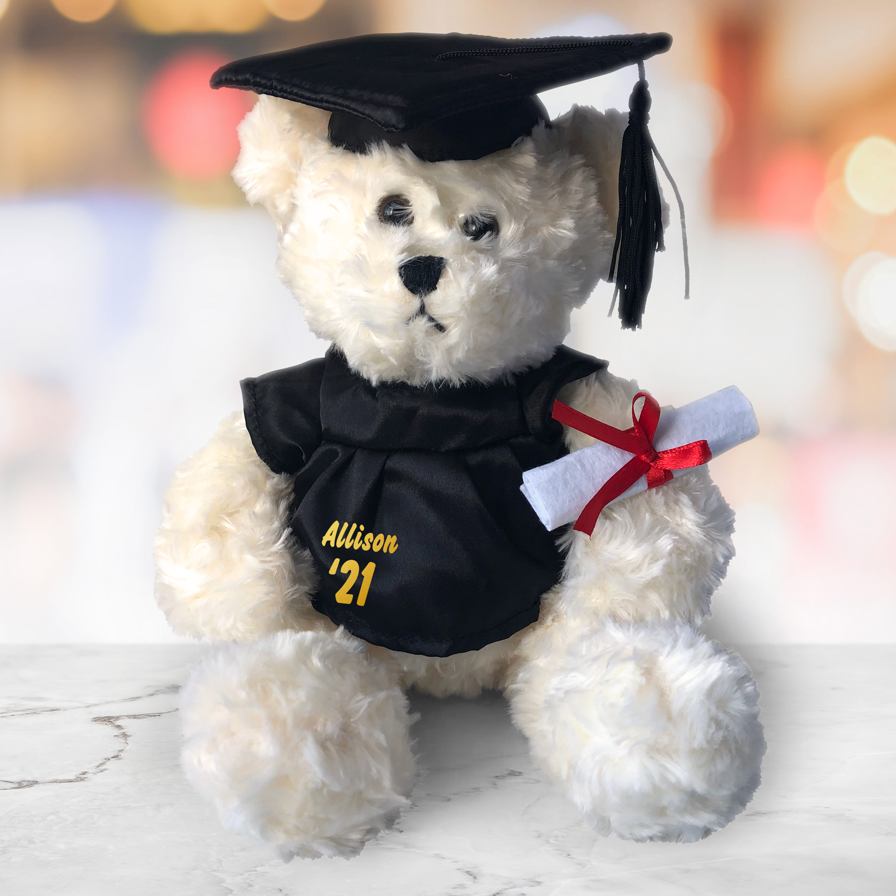 Graduation Cap and Gown Cream Plush Bear - 8.5