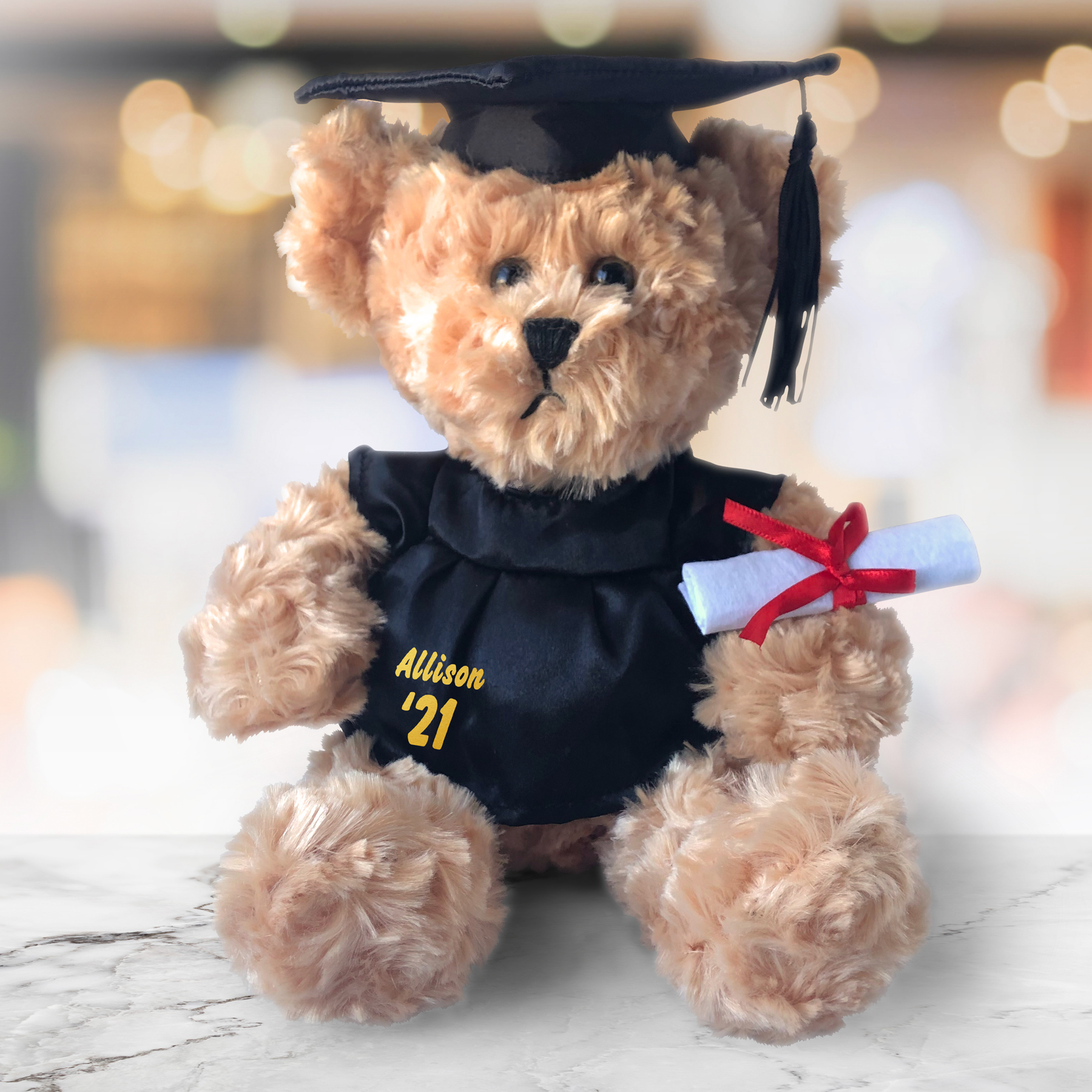 Graduation Cap and Gown Beige Plush Bear - 8.5