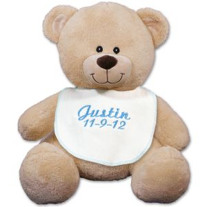 Embroidered Blue Bib Teddy Bear - 11