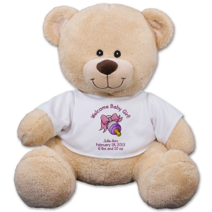 Personalized New Baby Girl Teddy Bear 834772X