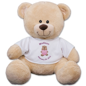 Personalized New Baby Girl Teddy Bear