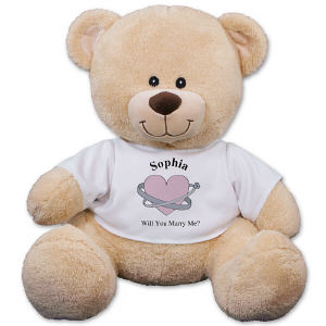 Personalized Heart and Rings Engagement Teddy Bear 83xxxb13-4984