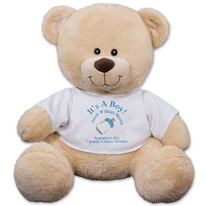 Bear for New Baby Boy - Personalized New Baby Boy Teddy BearWelcome the arrival of your handsome little man by presenting him with this personalized Teddy Bear keepsake. Our loving baby bottle design is custom printed on a t-shirt, worn by our favorite Sherman Teddy Bear. Free personalization of any four line custom message is included on this stuffed teddy bear baby gift design. Sherman has an irresistible look on his face along with a wonderfully soft feel. He features contrasting tan fur on the inside of his ears and his snout. He measures about 11? and makes a wonderful gift for any occasion. Free gift wrapping and a free gift message are included to make giving this gift even easier.