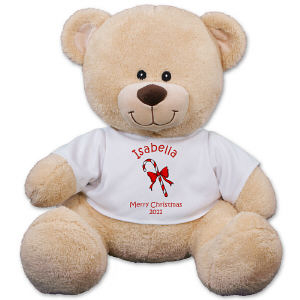 Personalized Candy Cane Teddy Bear - 11