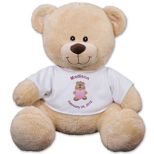 New Baby Girl Teddy Bear - Personalized New Baby Sherman Teddy BearCelebrating the arrival of your new baby girl is an occasion to never forget. Hold on to those wonderful memories by marking the occasion with our New Baby Teddy Bear. We can help you make this bear unique with custom designed t-shirt with any two line message for free! The personalized t-shirt is featured on our Sherman Teddy Bear. Sherman has an irresistible look on his face along with a wonderfully soft feel. He features contrasting tan fur on the inside of his ears and his snout. Measuring about 11?, this stuffed animal makes a wonderful gift for any occasion. Free gift wrapping and a free gift message are included to create a thoughtful presentation.