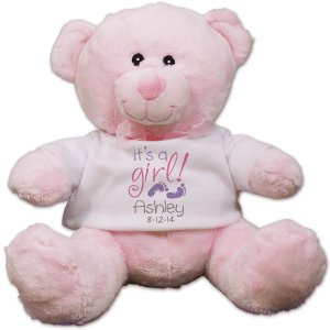 It's A Girl Personalized Pink Teddy Bear - 8