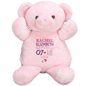 Embroidered New Baby Girl Teddy Bear 8BE751210X