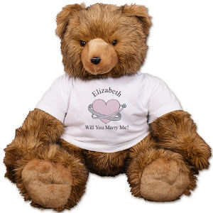Personalized Heart and Rings Engagement Teddy Bear AU1407-4729