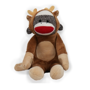 """This festive Sock Reindeer comes in a classic brown color with big red lips. It?s made from a plush sock knit material and cute as a button in its reindeer outfit. This monkey offers embroidered features and may be surface washable. Measures 12"""" L. Free Gift Wrapping and a Free Gift Card is included to help create a thoughtful presentation."""