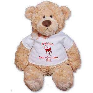 Personalized Candy Cane Plush Teddy Bear - 12