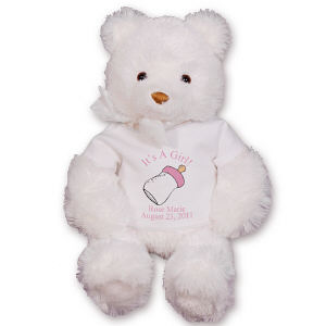 Personalized New Baby Girl White Teddy Bear GU15235-4716