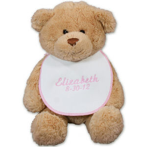 Embroidered Pink Bib New Baby Teddy Bear GU15422–6064