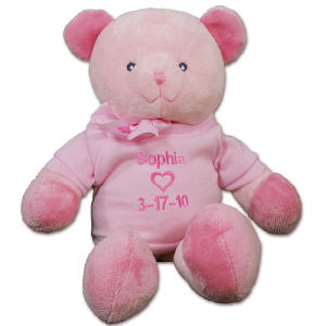 Embroidered New Baby Girl Pink Teddy Bear RB34822-3348