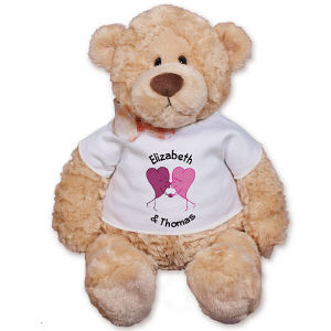 Personalized Two Kissing Hearts Romance Teddy Bear GU15015-4745