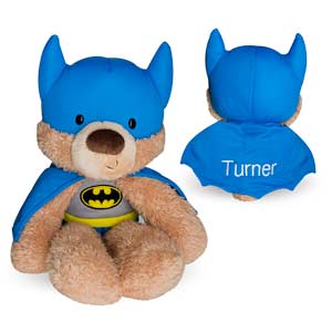 Surprise your little one with an adorable Embroidered Batman Plush Bear that is personalized just for them.This Superhero Bear will be embroidered with any name in white thread on the back of the cape.Personalized Super Hero Stuffed Animals makes great gifts for birthdays, get well or any other occasion. Buy yourBatman Personalized Stuffed Teddy Bear today!