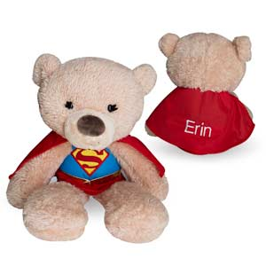 Your little superhero will love to have a sidekick everywhere they go, give them our Embroidered Supergirl Plush Teddy Bear for any occasion.This Superhero Teddy Bear will be embroidered with any name in white thread on the back of the cape.Personalized Super Hero Stuffed Animals makes great gifts for birthdays, get well or any other occasion.