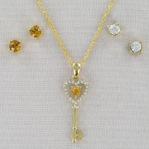 Birthstone Necklace and Earring Set 8BD2SJ1131