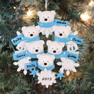 Personalized Polar Bear Family Ornament 8B87214