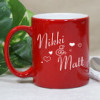 Engraved Couples Red Coffee Mug
