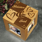 Engraved Couples Heart Photo Cube