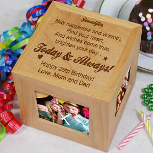 Engraved Today & Always Birthday Photo Cube