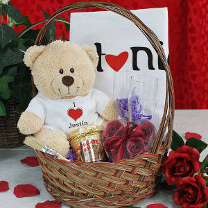 I Love You Teddy Bear Gift Basket 8B5282VGB