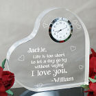 Engraved I Love You Heart Clock