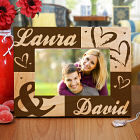 Engraved Couples Hearts Wooden Picture Frame 8B952261