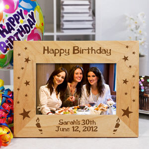 Engraved Happy Birthday Wooden Picture Frame