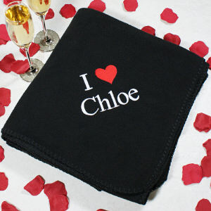 Embroidered I Love You Fleece Blanket 8BE32092BK