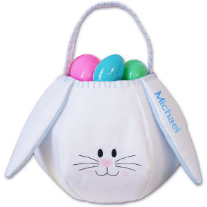Embroidered Blue Bunny Basekt 8BG00405GH