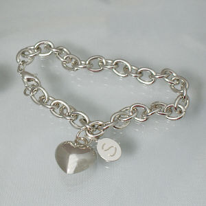 Engraved Heart Charm Bracelet 8BJ38867