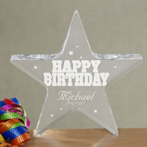 Engraved Happy Birthday Star Keepsake