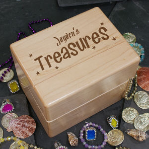 Engraved Wooden Treasure Box