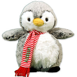 Plush Christmas Penguin - Perky Penguin Christmas EditionThis chilly-willy penguin is super cute wrapped up in a cozy scarf. With it?s very cute, soft and cuddly body, this Plush Penguin makes an excellent gift for anyone on your Christmas shopping list.Perky the Penguin is from our Aurora collection and measures approx. 10? tall. He wears a festive red and white striped scarf that can be embroidered for free with any name. Free Gift Wrapping and a Free Gift Card are included to create a thoughtful presentation.