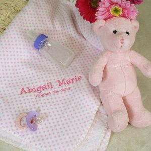Embroidered Pink Dot Blanket and Bear Set E701592