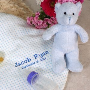 Embroidered Blue Dot Blanket and Bear Set E701492