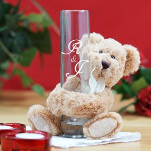 Engraved Couples Initials Bud Vase and Teddy Bear Hugger 8BL524812VH
