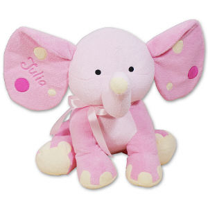 Embroidered Pink Polka Dot Elephant - 14