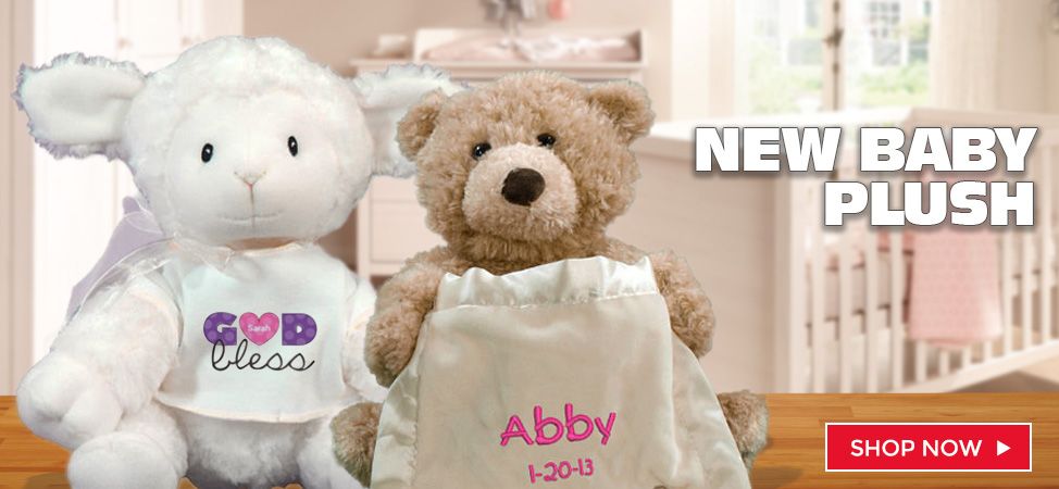 Celebrate the birth of a new baby with adorable personalized plush and teddy bears.