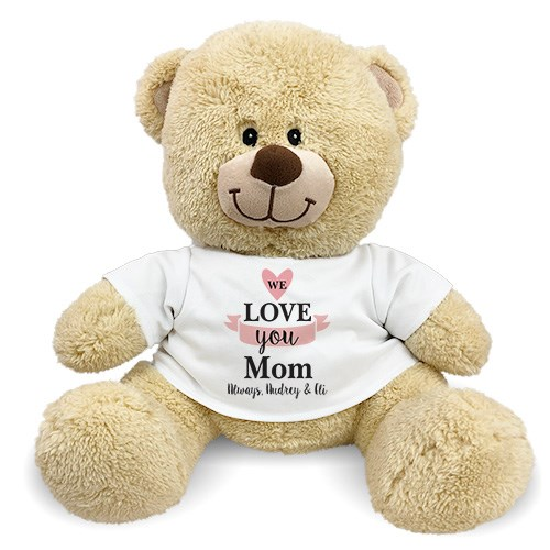 We Love You Mom Sherman Teddy Bear | Personalized Teddy Bear