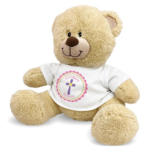 God Bless Pink Cross Teddy Bear 837257G9X