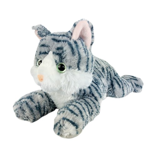 Grey Striped Stuffed Cat Toy | Soft Plush Cat