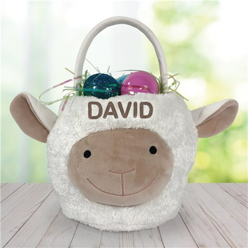 Embroidered Lamb Easter Basket E14222438