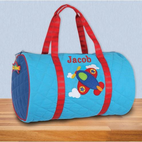 Embroidered Airplane Quilted Duffel Bag E12151325