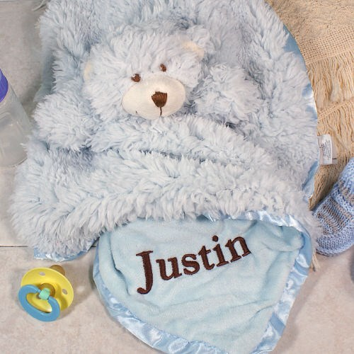 Embroidered Blue Bear Cuddle Bud Blankie E703585