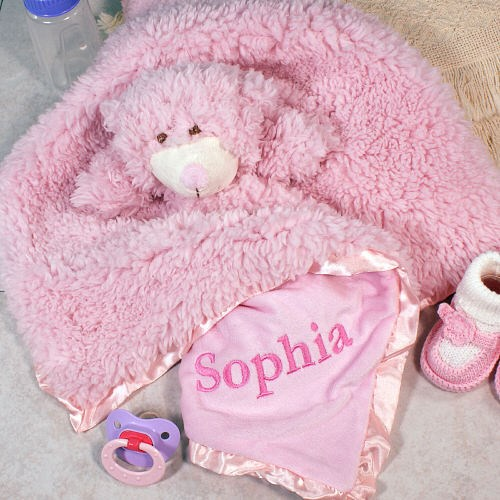 Embroidered Pink Bear Cuddle Bud Blankie E703685