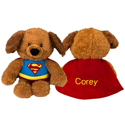 Embroidered Superman Plush Dog | Personalized Super Hero Stuffed Animals